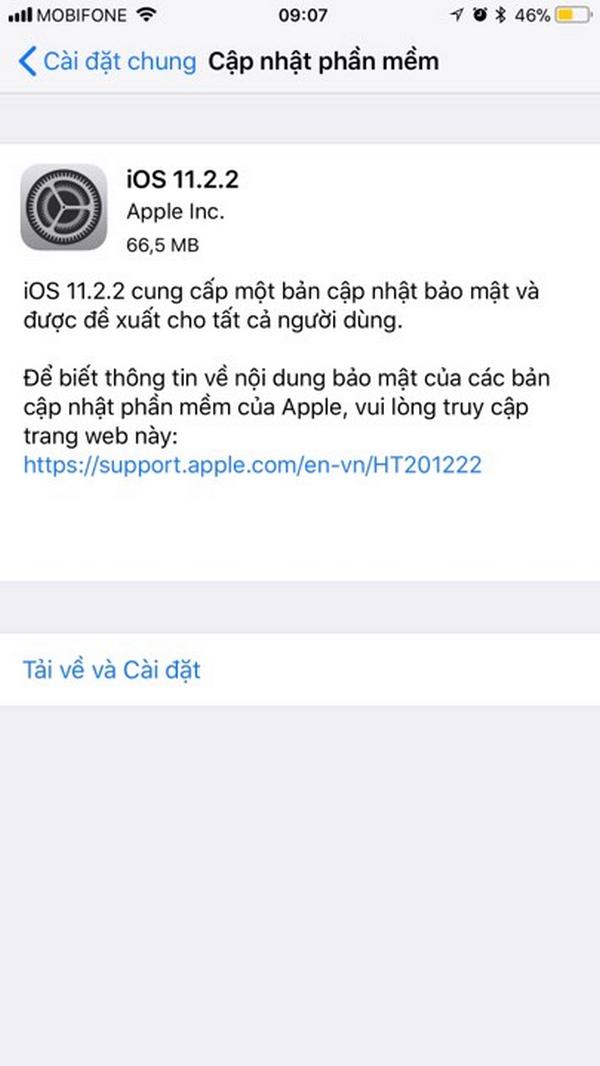 iOS 11.2.2 chính thức được phát hành và sửa lỗi Spectre