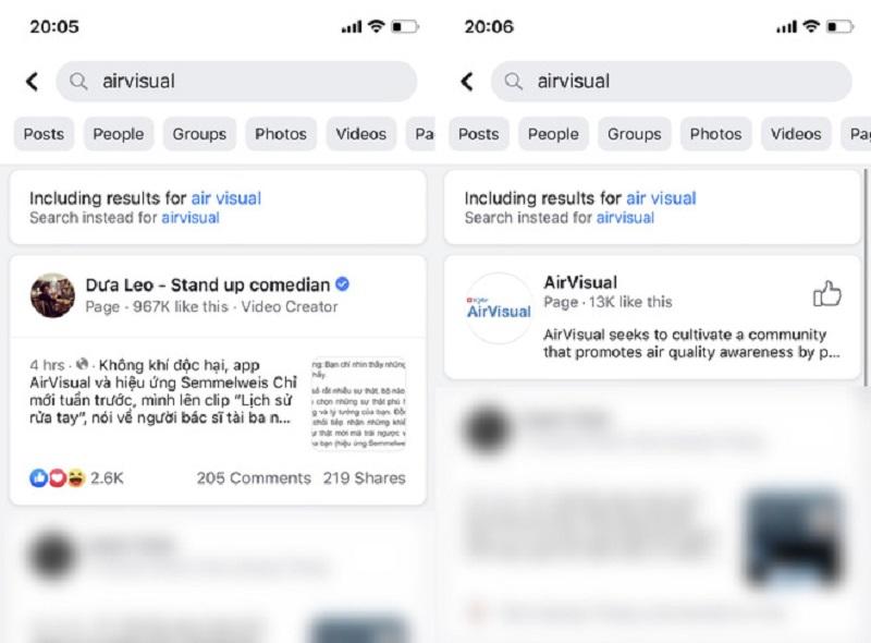 Fanpage Facebook của AirVisual chặn người dùng Việt Nam
