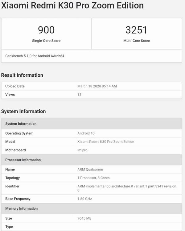 Redmi K30 Pro Zoom Edition lộ diện trên Geekbench