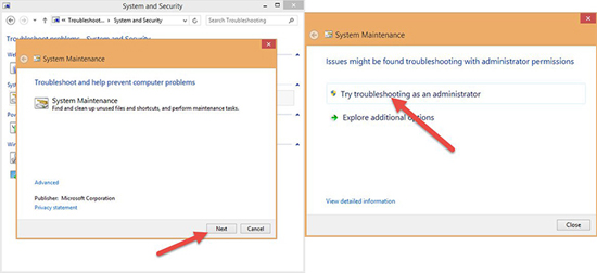 next >> try troubleshooting as an administrator