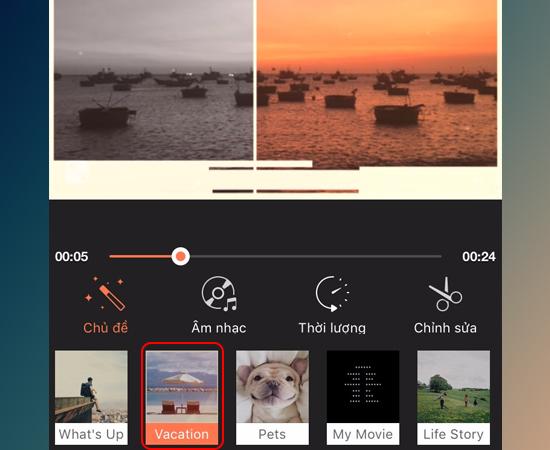Bước 3: Lúc này ứng dụng sẽ tạo cho bạn một video theo chủ đề có sẵn, bạn có thể lựa chọn chủ đề khác.