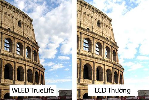 độ tương phản cao trên công nghệ HD WLED TrueLife