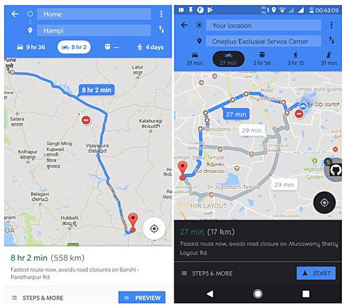 Google Map cập nhật tính năng tìm đường dành cho người dùng di chuyển bằng xe 2 bánh