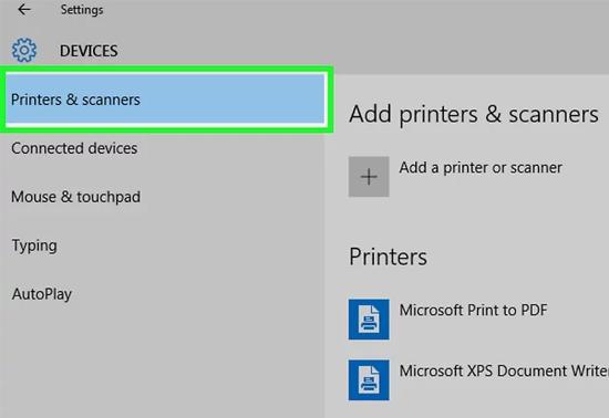 chọn printers & scanners