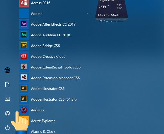 + Bước 1: Mở setting hoặc tổ hợp phím Windows + I.