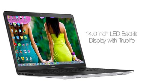 laptop dell sử dụng công nghệ màn hình HD WLED TrueLife