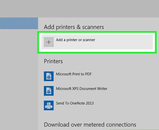 chọn add a printer or scanner