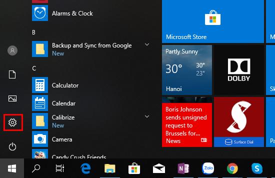Bạn hãy bấm phím Windows và chọn Setting