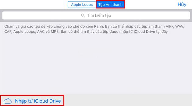 Chọn danh sách từ iCloud Driver