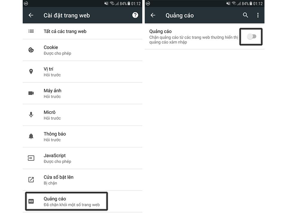 Chặn quảng cáo trên Chrome Android 04