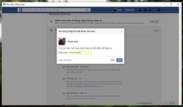 Facebook sẽ yêu cầu bạn nhập lại mật khẩu để xác thực lựa chọn mà bạn vừa đưa ra.