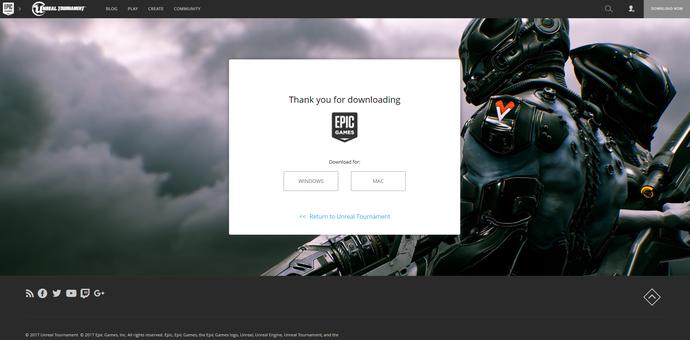 Truy cập vào trang chủ của Epic Games để tải ứng dụng chơi game.
