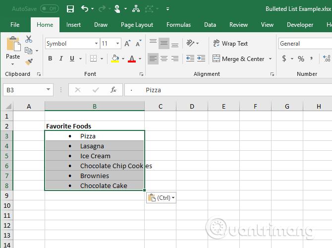 Sao chép danh sách từ Word vào từng ô khác nhau