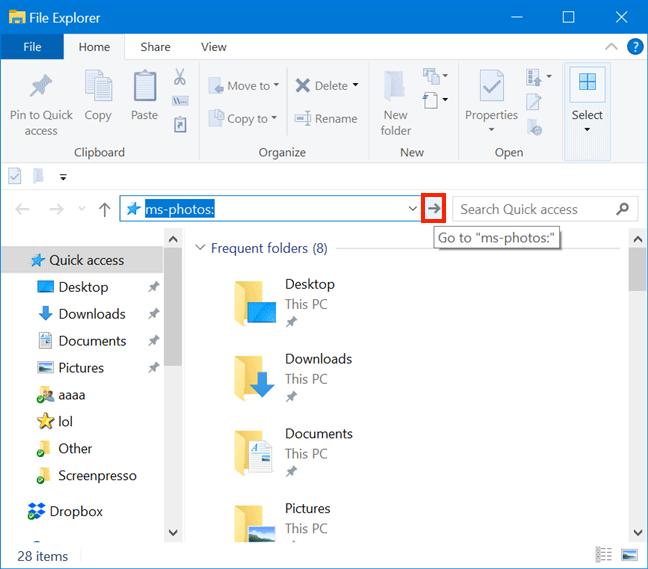 Sử dụng File Explorer để mở ứng dụng Photos